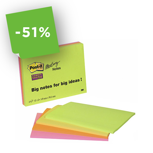 Post-it® 3M Meeting Notes super sticky  203x152 mm - colori neon assortiti